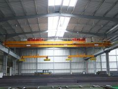 Bridge cranes of GIGA - double girder bridge crane 2x5t:25,5m with rope stabilization on magnet traverse