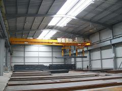Bridge cranes of GIGA - double girder bridge crane GDMJ 2x10t:25,5m with rope stabilization on magnet traverse_2