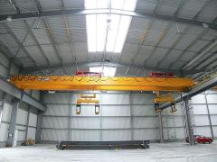 Bridge cranes of GIGA - double girder bridge crane GDMJ 2x10t:25,5m with rope stabilization on magnet traverse