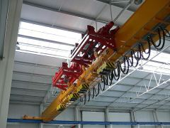 Bridge cranes of GIGA - bridge crane single girder, with two cantilever hoists, with rope stabilization on magnet traverse