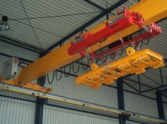 Bridge cranes of GIGA - bridge crane single girder with rope stabilization on magnet traverse